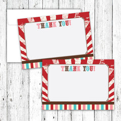 Vintage Carnival Circus Thank You Notecards in Red Teal & Brown