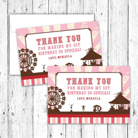 Vintage Carnival Circus Thank You Notecards in Pink Red & Brown
