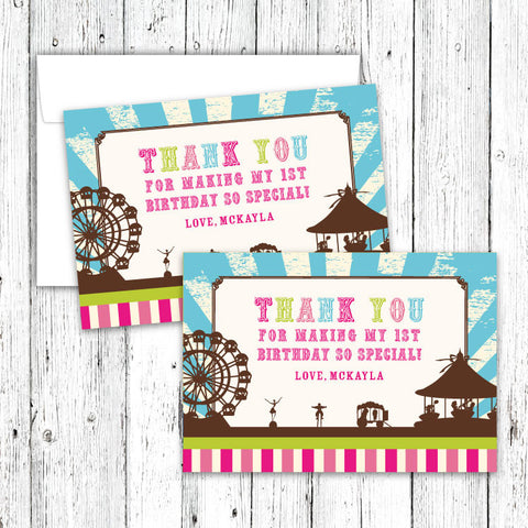 Vintage Carnival Circus Thank You Notecards in Candy Colors