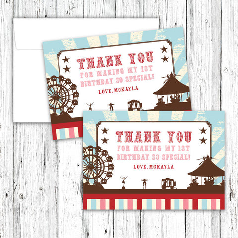 Vintage Carnival Circus Thank You Notecards in Aqua Red & Brown