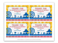 Vintage Carnival Circus Thank You Notecards in Yellow Blue & Red