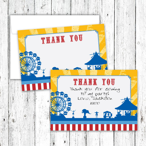 Vintage Carnival Circus Thank You Notecards in Yellow Blue & Red (B)