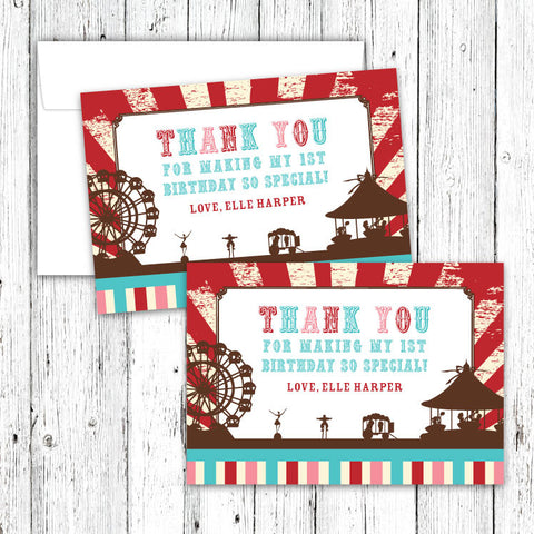 Vintage Carnival Circus Thank You Notecards in Red Teal & Brown (B)