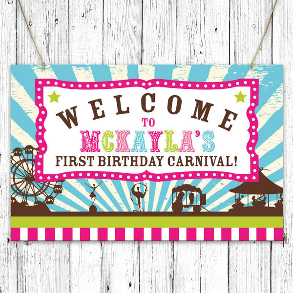 Vintage Carnival Circus Party Sign in Candy Colors