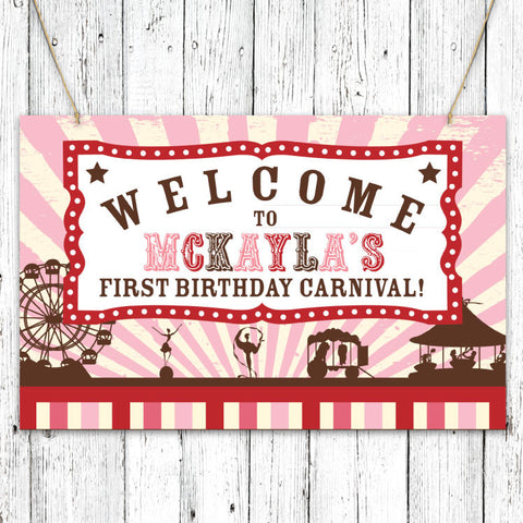Vintage Carnival Circus Party Sign in Pink Red & Brown