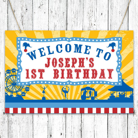 Vintage Carnival Circus Party Sign in Yellow Blue & Red