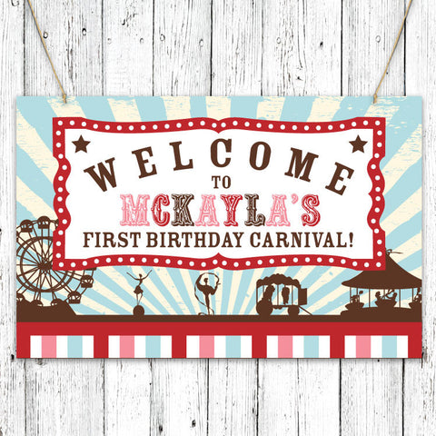 Vintage Carnival Circus Party Sign in Aqua Red & Brown