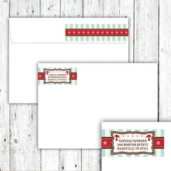 Vintage Carnival Circus Wrap-Around Address Labels in Aqua Red & Brown