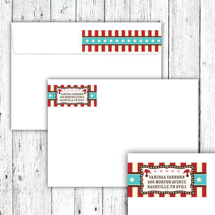 Vintage Carnival Circus Wrap-Around Address Labels in Red Teal & Brown