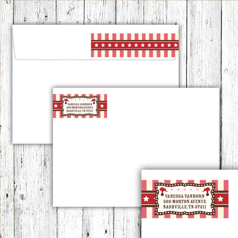 Vintage Carnival Circus Wrap-Around Address Labels in Pink Red & Brown
