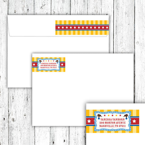 Vintage Carnival Circus Wrap-Around Address Labels in Yellow Blue & Red