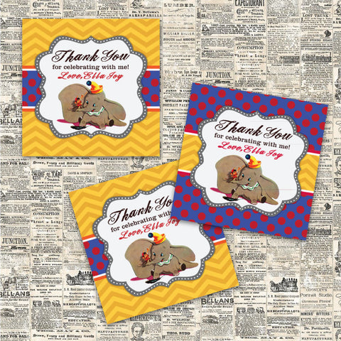 Vintage Dumbo Printable Party Favor Tags (Blue)