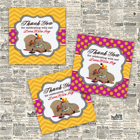 Vintage Dumbo Printable Party Favor Tags (Pink)