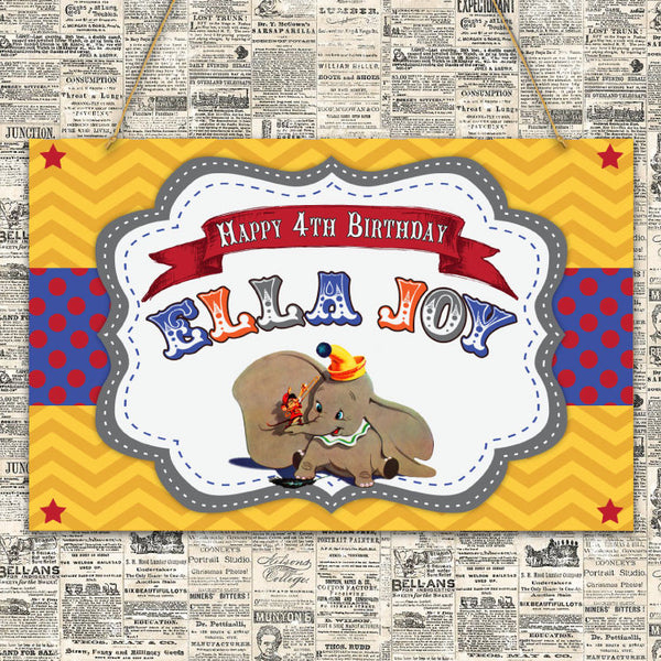 Vintage Dumbo Party Sign (Blue)