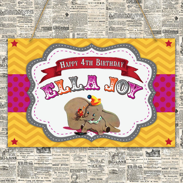 Vintage Dumbo Party Sign (Pink)