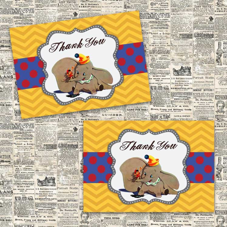 Vintage Dumbo Thank You Notecards (Blue)