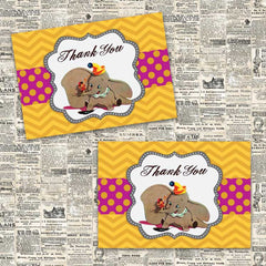 Vintage Dumbo Thank You Notecards (Pink)