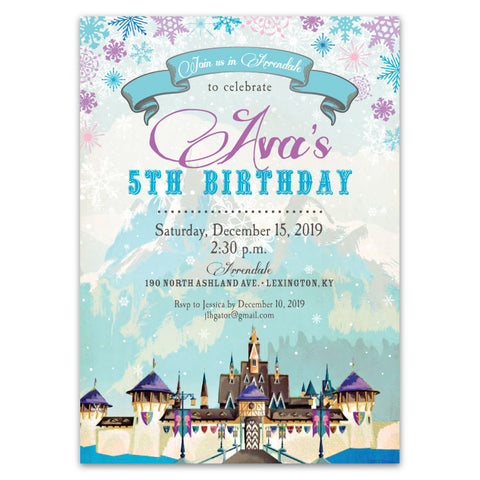 Vintage Winter Castle Birthday Party Invitations