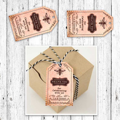 Vintage Honeybee Party Favor Luggage Tags