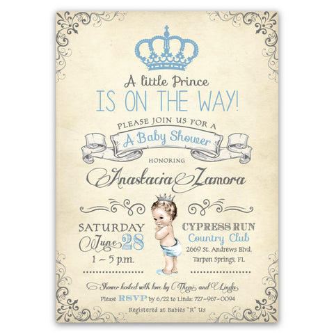 Vintage Baby Prince Baby Shower Invitations