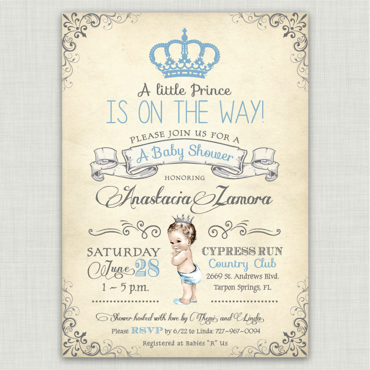 Vintage Baby Prince Baby Shower Invitations – Ian & Lola Design Boutique