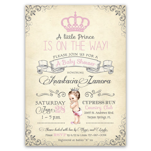 Vintage Baby Princess Baby Shower Invitations