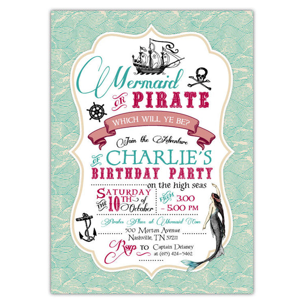 Vintage Mermaid Pirate Party Invitations