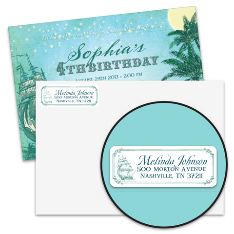 Vintage Neverland Return Address Labels