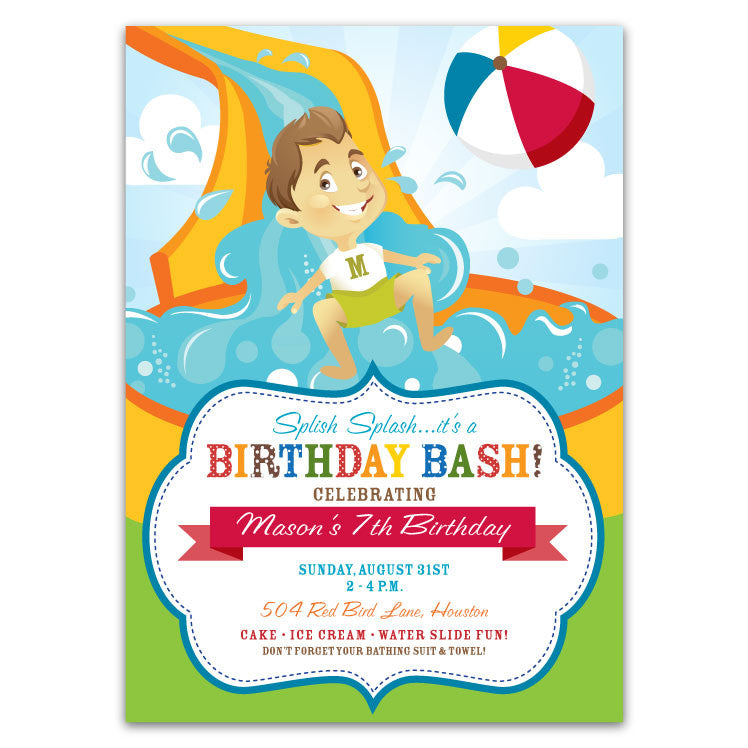 Water Slide Birthday Party Invitations Boys Ian Lola Design Boutique