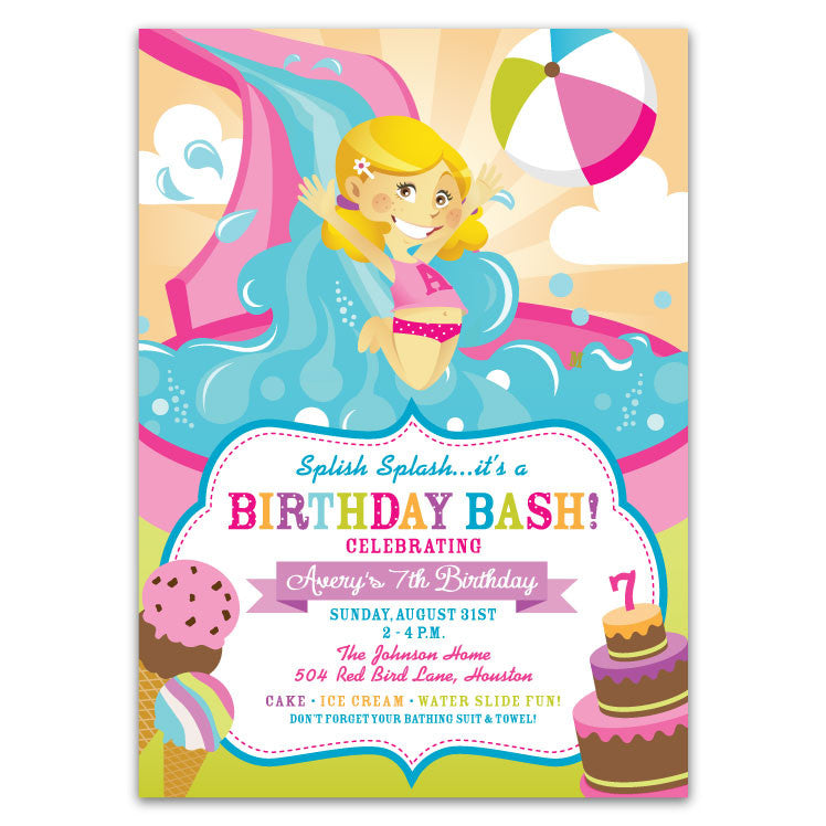 Water Slide Birthday Party Invitations Girls Ian Lola Design Boutique
