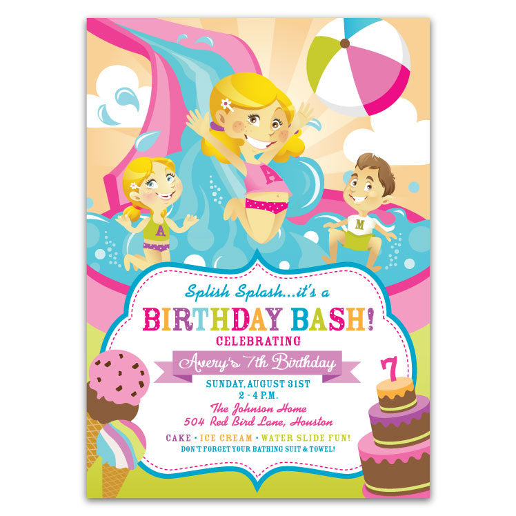 Additional Layouts Water Slide Birthday Party Invitations