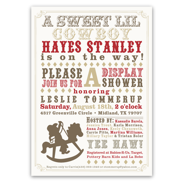Western Rocking Horse Baby Shower Invitations