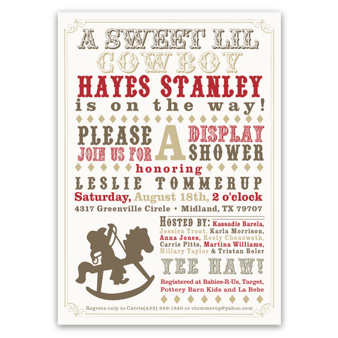 Rocking Horse Baby Shower Invitations (boy)