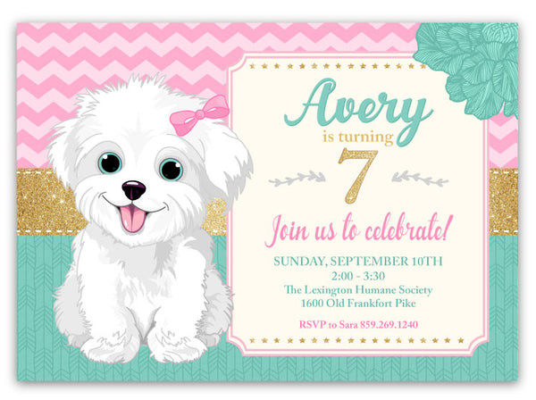 White Puppy Dog Birthday Invitation