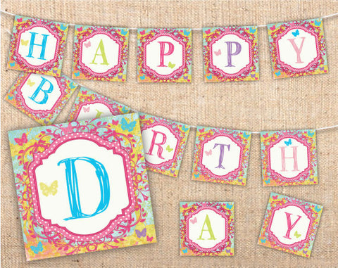 Whimsical Wonderland Party Banner Squares