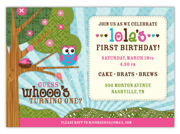 Woodland Owls Invitations (A)