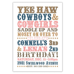 Western Text Party Invitations (A)