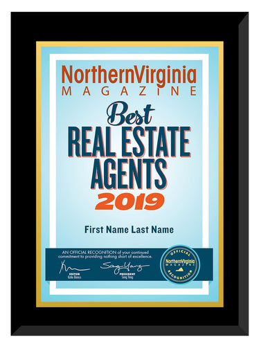 2019 Best Real Estate Agents Plaque