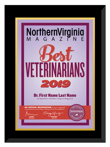 2019 Best Veterinarians Plaque