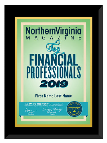 2019 Top Financial Professionals Plaque