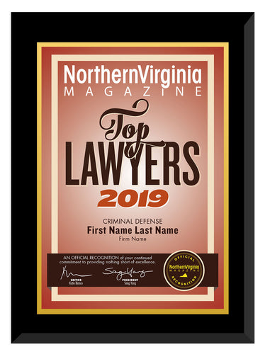 2019 Top Lawyers Plaque