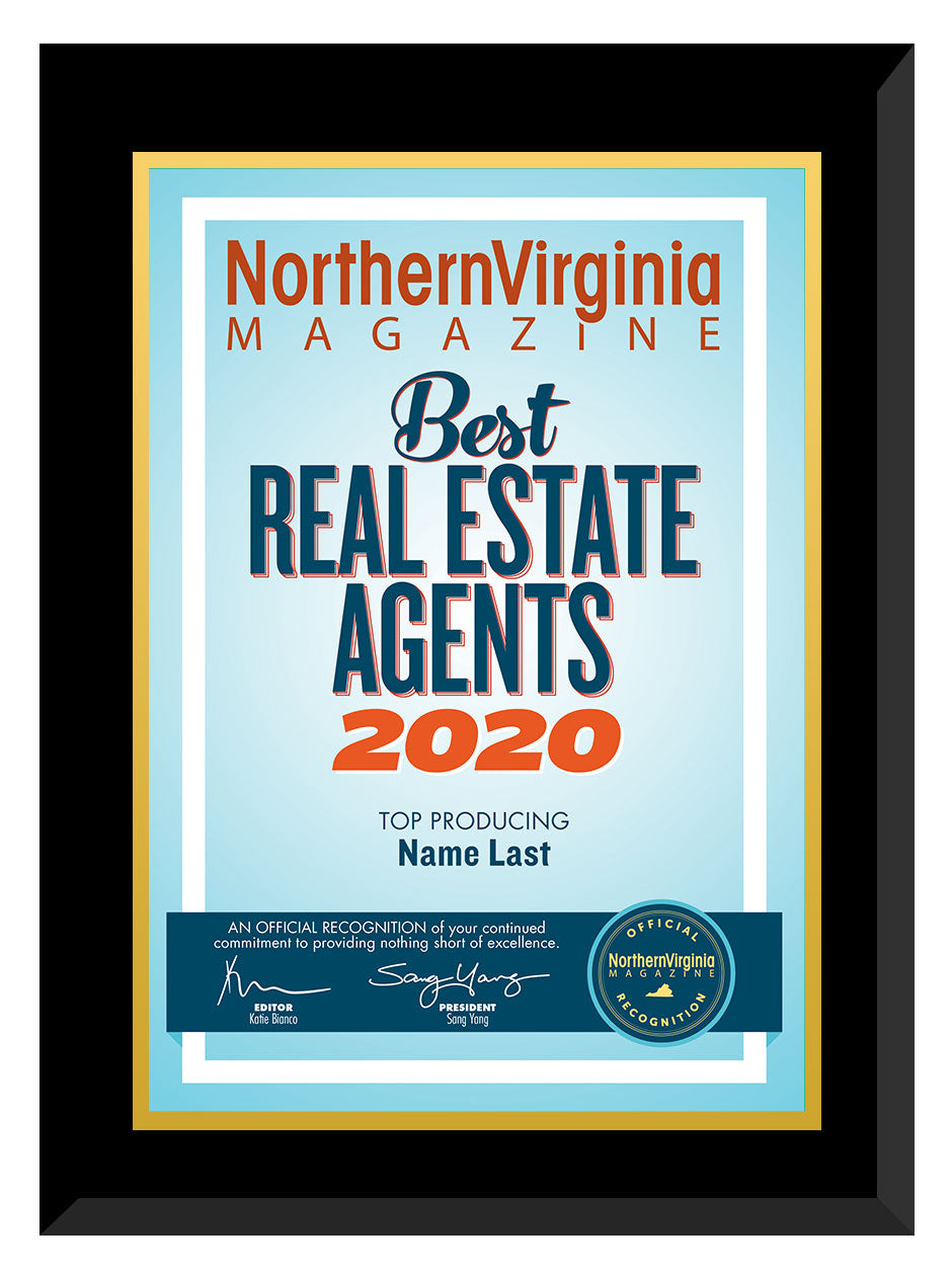 2020 Best Real Estate Agents Plaque
