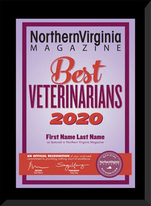 2020 Best Veterinarians Plaque
