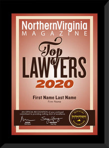 2020 Top Lawyers Plaque