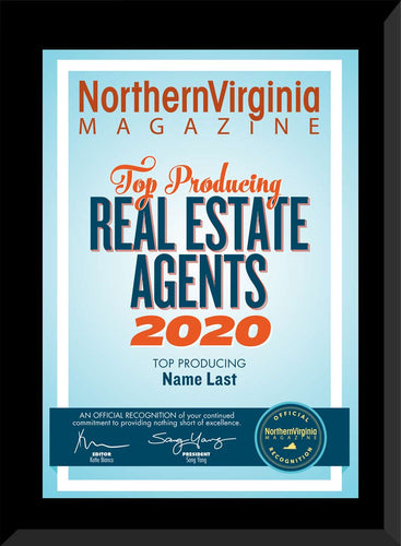 2020 Top Producing Real Estate Agents Plaque