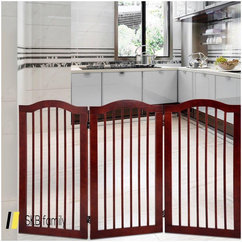 3 Panels Folding Freestanding Wood Pet Dog Safety Gate 200815-22057