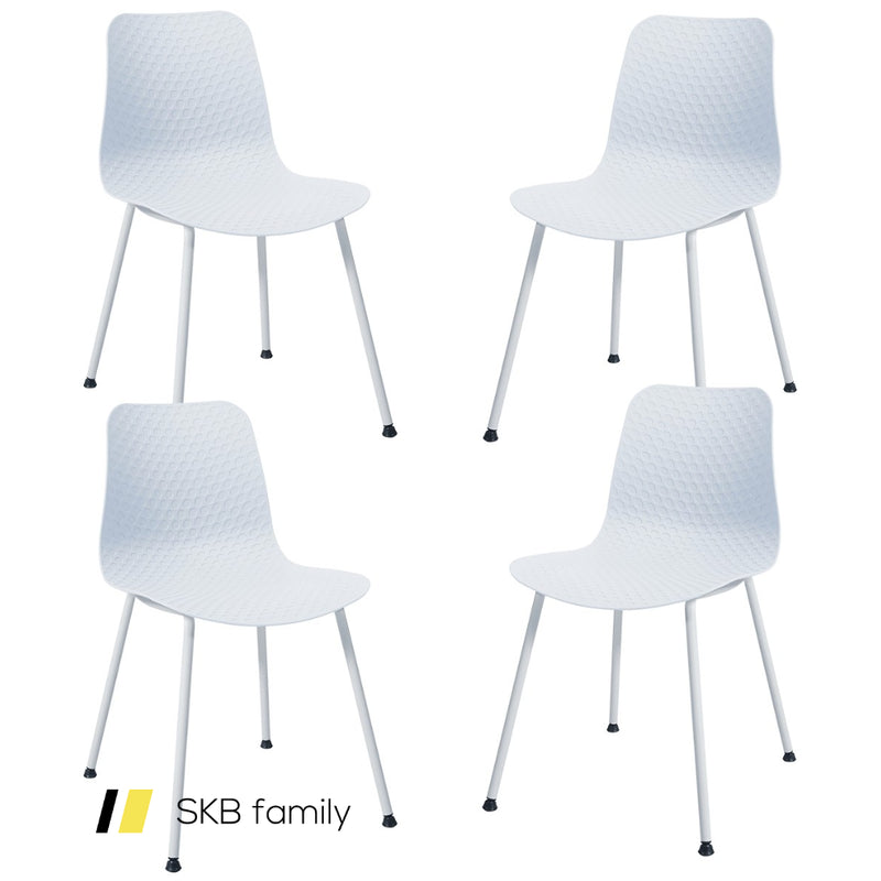Set Of 4 Dining Plastic Chair With Metal Legs Sage 200815-22147