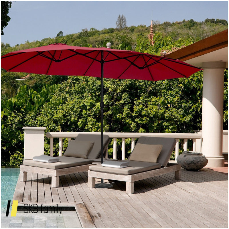 15' Twin Patio Umbrella Double-Sided Outdoor Market Umbrella 200815-22192