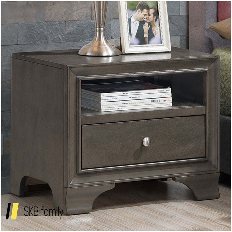 Brown Vintage Nightstand Sofa Side End Table With Usb Port 200815-22693