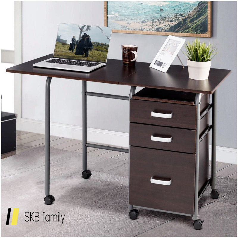 Folding Computer Laptop Desk Wheeled Home Office Furniture 200815-22868